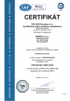 grizzly iso 14001 TUV